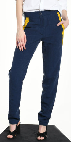 TROUSERS BLUE WITH YELLOW STRIP