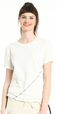 TEE SHIRT OFF WHITE DIAGONALE SEWING DARK GREY