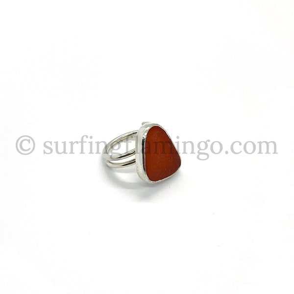 Sunset Orange Sea Glass Ring