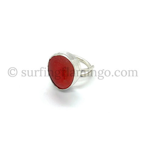 Candy Apple Red Sea Glass Ring