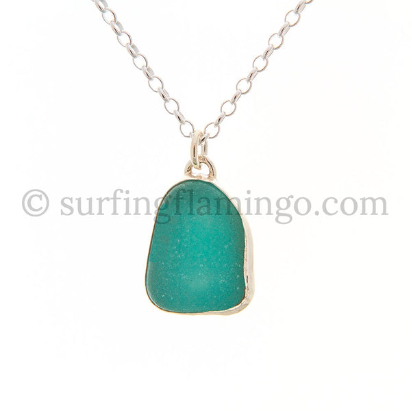 Aqua Green Sea Glass Pendant Necklaces