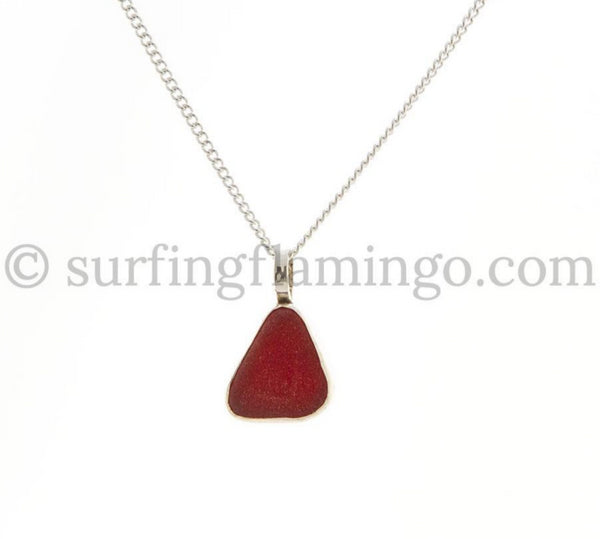 Crimson Red Sea Glass Necklaces
