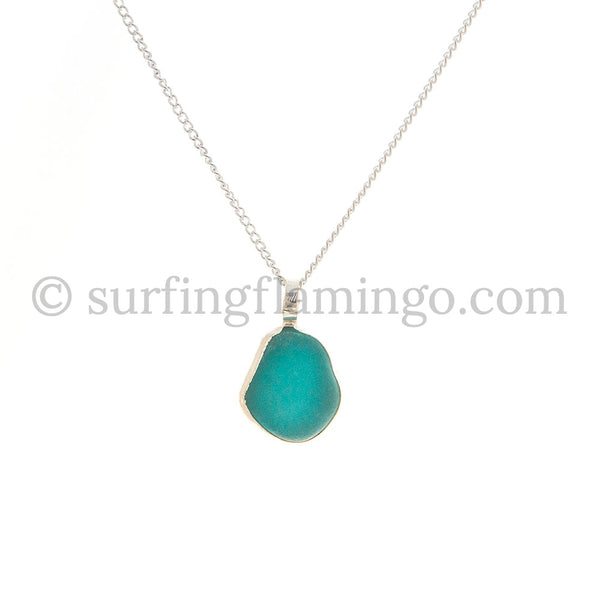 Teal Sea Glass Pendant Necklaces