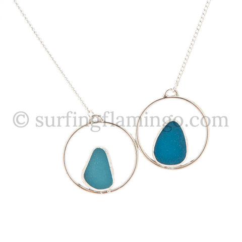 Double Bue Sea Glass Necklaces