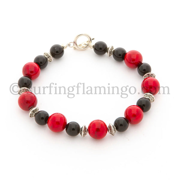 Hot Tamale - Red, Black and Silver Bracelet