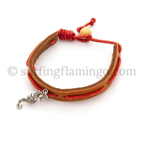 BOHO Beach Chic Leather Bracelet with Seahorse Charm