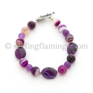 Purple Agate Beaded Bracelet - Purple Passion