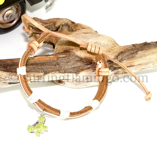 BOHO Beach Chic Leather Bracelet with Swarovski Crystal Crab Charm