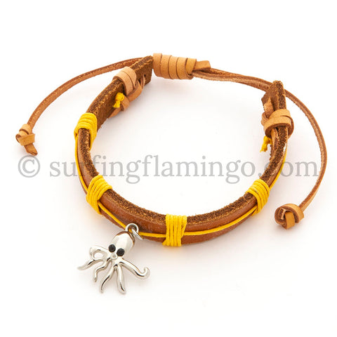 BOHO Beach Chic Leather Bracelet with Octopus Charm
