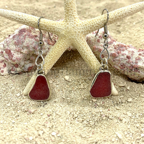 Crimson Red Sea Glass Earrings