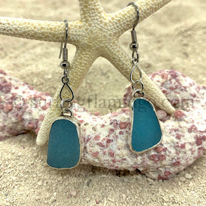 Caribbean Blue Sea Glass Earrings