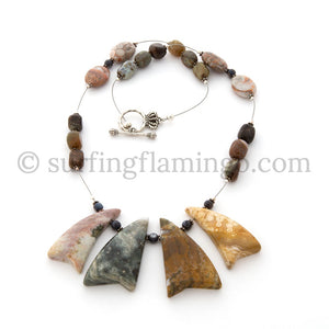 Whispering Surf - 4 Piece Multi-Color Ocean Sediment Jasper Necklace