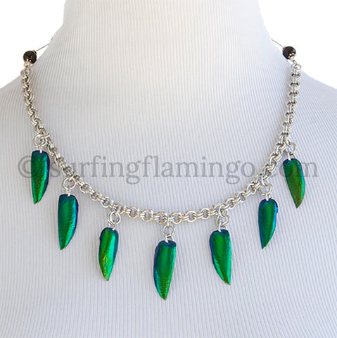 Chainmaille (Chainmail) Necklace Featuring Emerald Green Beetle Wings