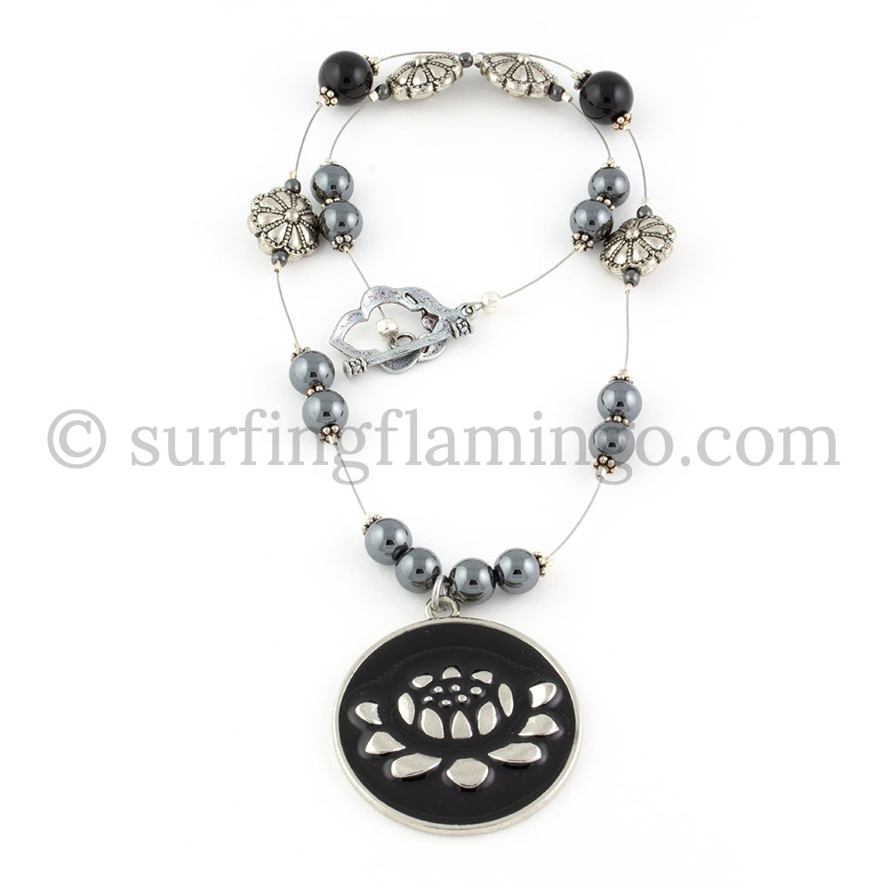 Blooming Lotus - Black and Silver Lotus Pendant Necklace