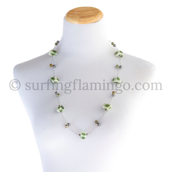 Twister – Green Ceramic Beads Necklace