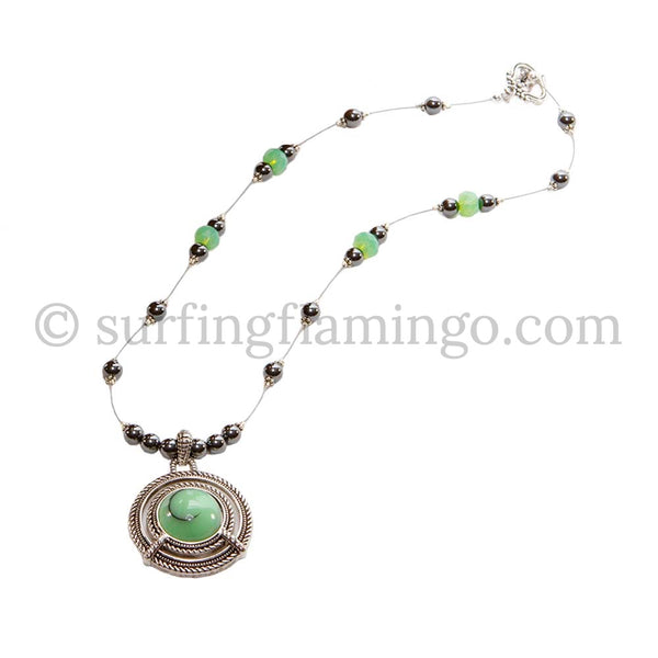 Irish Dreams Green Hematite Beaded Necklace