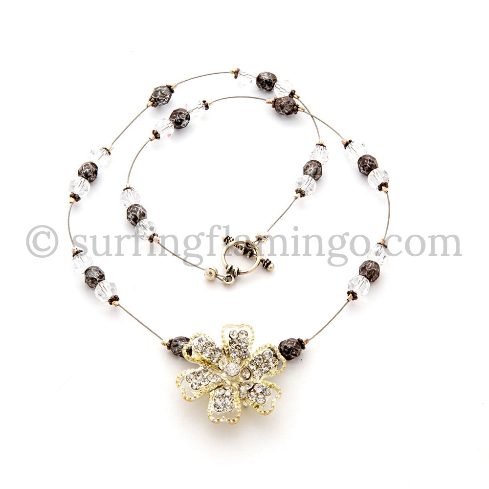 Crystal Flower - Faux Diamond Pendant and Necklace