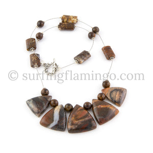 Latte Lovely - 5 Piece Jasper Pendant and Necklace