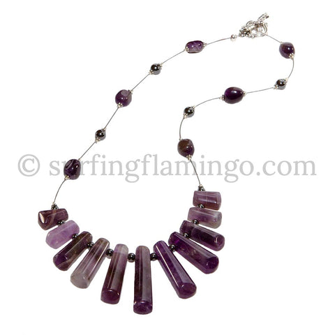 Purple Rain - 11 Piece Striped Agate Drop Necklace