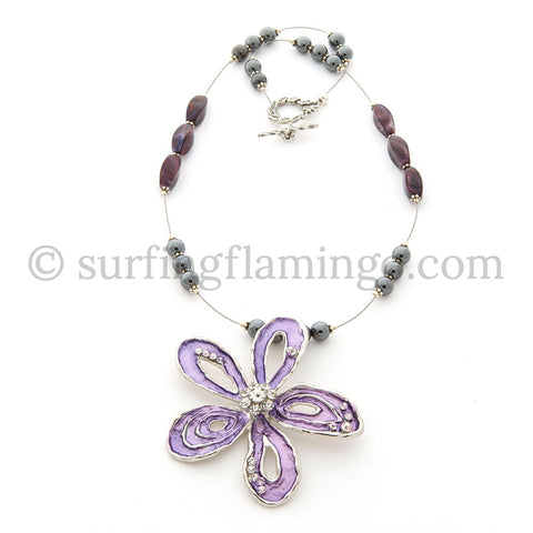 Floral Garden – Purple Metal Flower and Rhinestone Necklace