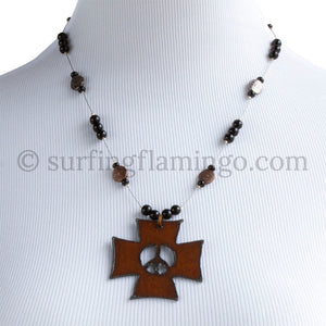 Metal Peace Pendant and Necklace