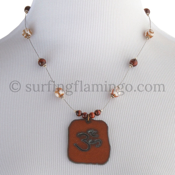 Metal OM Pendant and Necklace