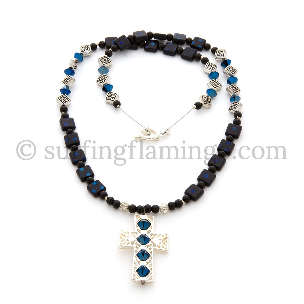 Black Beauty – Cross Necklace with Glass Pearls