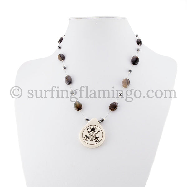 Native American Frog Pendant with Agate and Hematite Beads Necklace