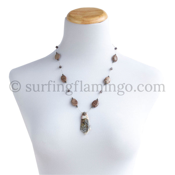 Picture This – Flint Pendant with Chinese Picture Jade Necklace