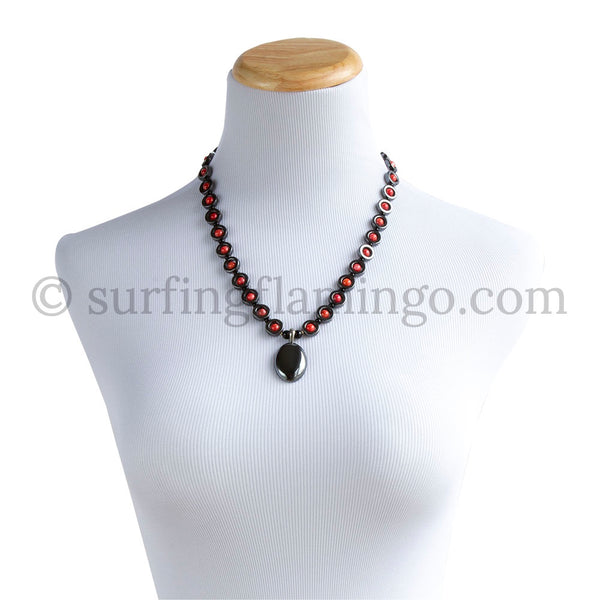 Total Eclipse – Hematite and Orange Beaded Necklace