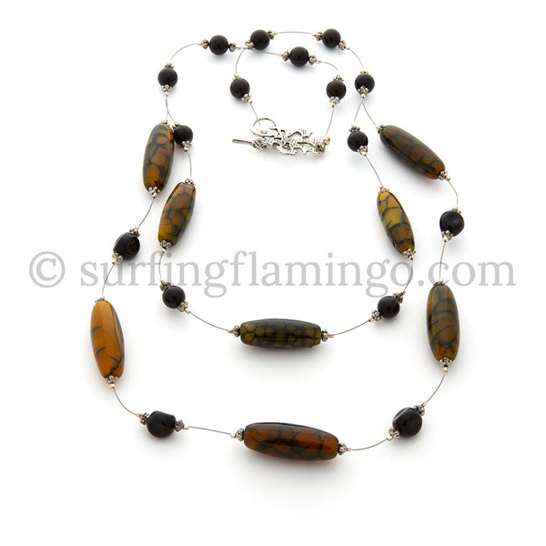 Mystic – Dragon Agate and Onyx Necklace