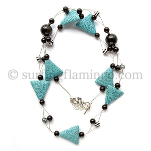 Sharks – Blue Volcanic Beaded Necklace