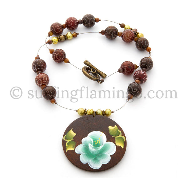 Tropical Gardens - Old Jade Beads with Floral Motif Pendant