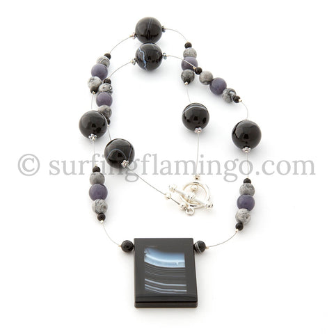 Monochrome Horizon – Square Glass Pendant
