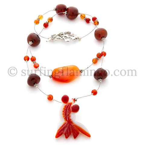 Lucky You - Carved Agate Goldfish Pendant with Carnelian Nuggets