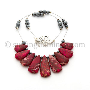Show Stopper – 9 Piece Red Dyed Variscite Necklace