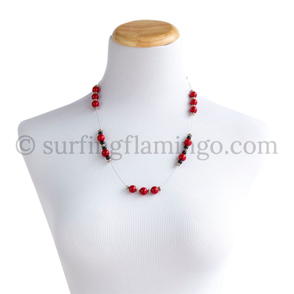 Hot Tamale - Red, Black and Silver Necklace