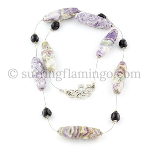 Lively Lilacs - Purple Swirl Agate Drum Necklace