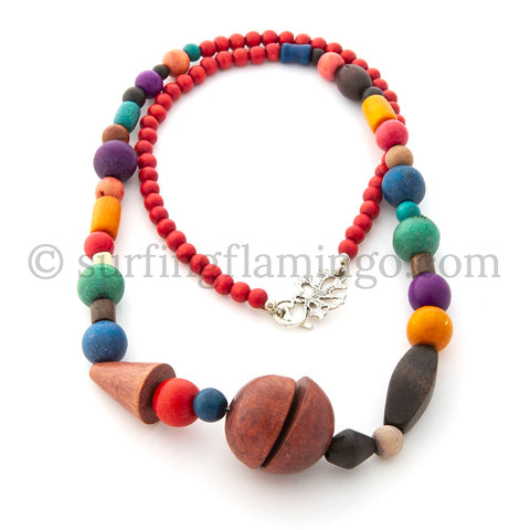 Primary Colors - Colorful Wooden Beaded Necklace