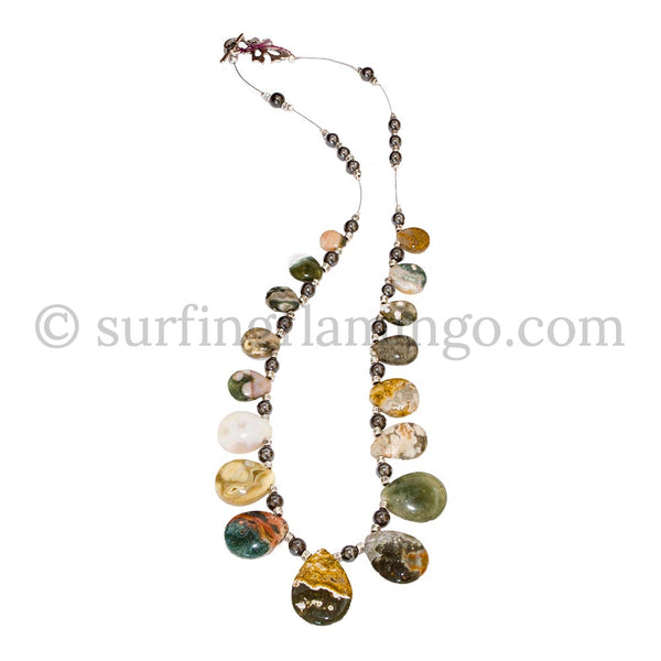 River Ripples - Striped Agate Teardrop Necklace