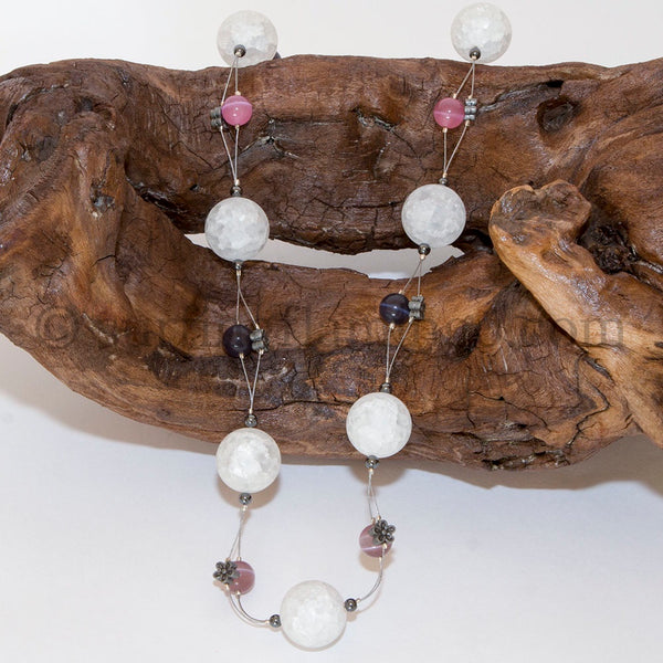 Bubbilicious - Crackled Glass and Cat's Eye Beaded Necklace