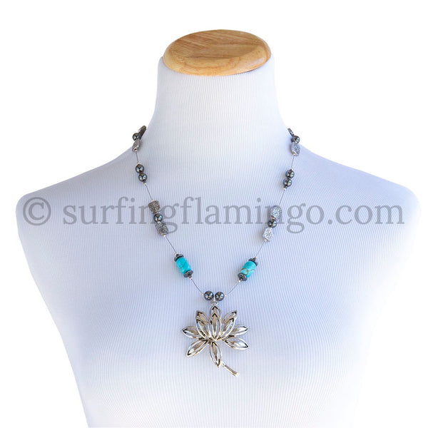 Lotus Flower - Silver Floral Motif Pendant and Necklace