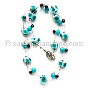 Azure Dreams - Ceramic,Turquoise and Onyx Beaded Necklace