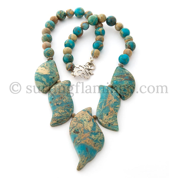 Skinny Dip - 5 Piece Sediment Sea Jasper Necklace
