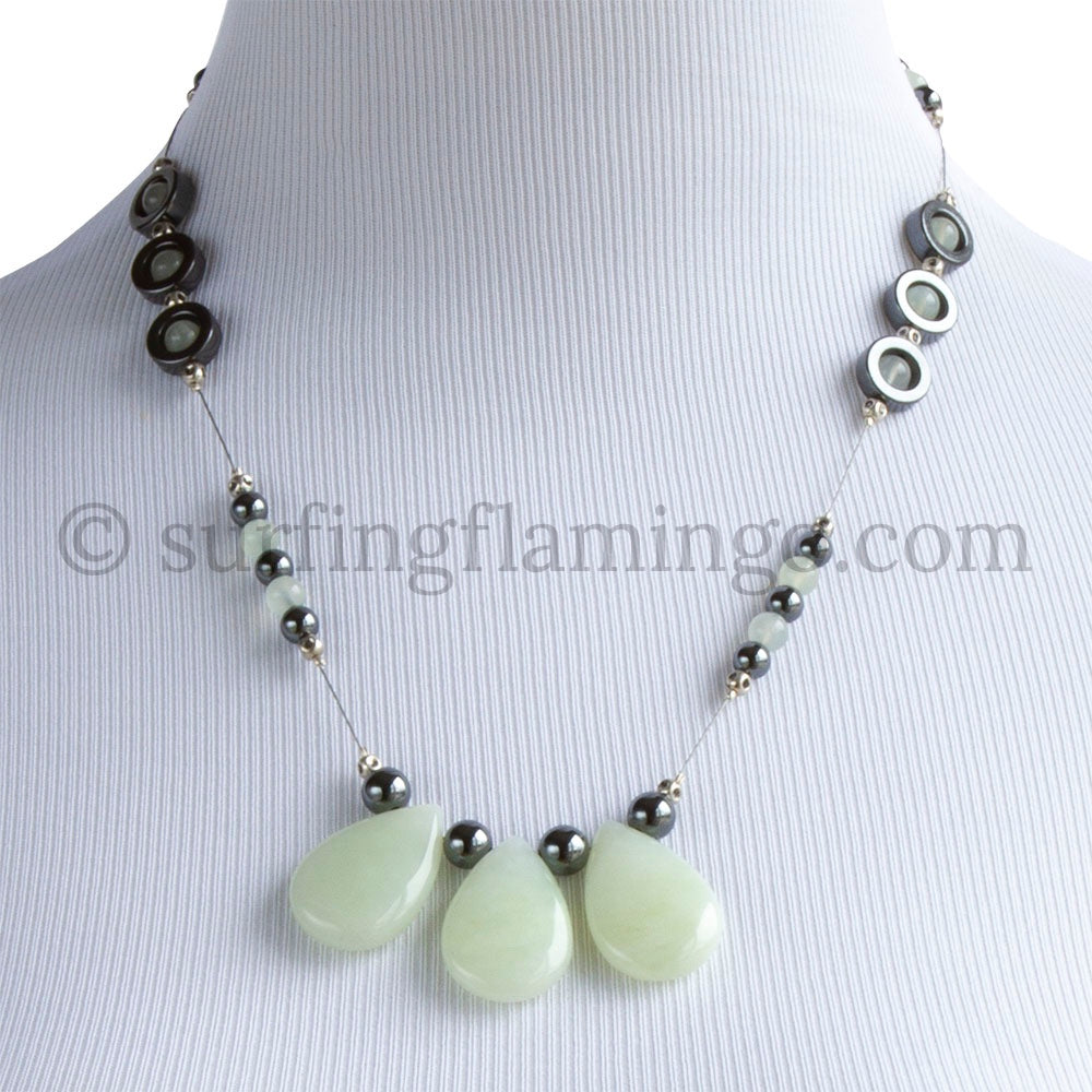 Dew Drops - New Jade and Hematite Necklace