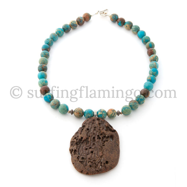 Driftwood Dreams - Blue Sediment Jasper with Driftwood Pendant