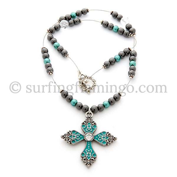 Charmed - Necklace with Teal Cross