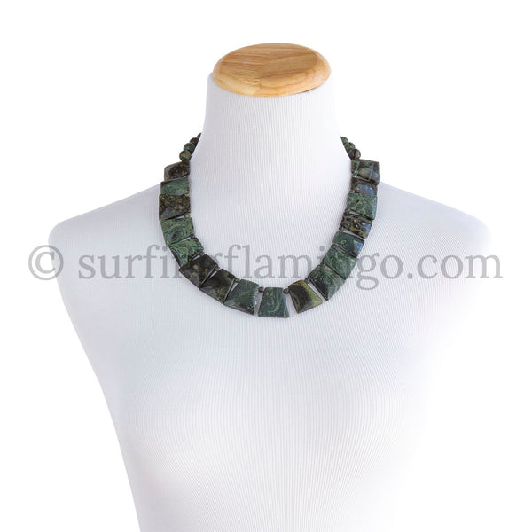Mossy Meadow - 11 Piece Graduated Chrysocolla Necklace