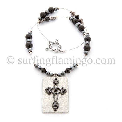 Simplicity - Necklace with Intricate Metal Cross Pendant