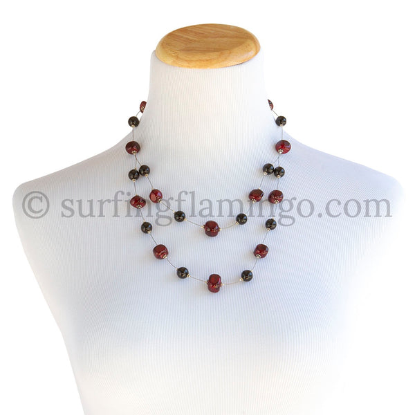 Dazzle Me - Double Strung Garnet and Onyx Necklace